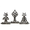 Ceramic Meditating Frog Figurine Assortment of Three Polished Chrome Finish Silver