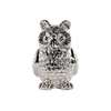 Ceramic Standing Owl Figurine Polished Chrome Finish Silver