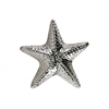 Ceramic Red-Knobbed Sea Star Figurine Polished Chrome Finish Silver