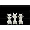 Ceramic Cat No Evil (Hear/Speak/See) Figurine Assortment of Three SM Gloss Finish White