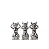 Ceramic Cat No Evil (Hear/Speak/See) Figurine Assortment of Three SM Polished Chrome Finish Silver
