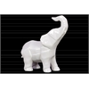 Ceramic Geometric Standing Trumpeting Elephant Figurine Gloss Finish White