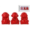 Ceramic Monkey Figurine in PVC Packaging Gloss Finish Red