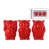 Ceramic Owl Figurine in PVC Packaging Gloss Finish Red
