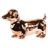 Ceramic Standing Dachshund Dog Figurine Polished Chrome Finish Rose Gold