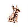 Ceramic Sitting French Bulldog Figurine Polished Chrome Finish Rose Gold