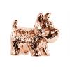 Ceramic Standing Welsh Terrier Dog Figurine Polished Chrome Finish Rose Gold