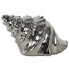 Ceramic Conch Seashell Figurine Chrome Finish Dark Silver