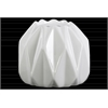 Ceramic Irregular Candle Holder with Embossed Diamond Design Gloss Finish White