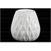 Ceramic Round Candle Holder with Embossed Diamond Design Gloss Finish White