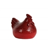 Ceramic Hen Figurine SM Hammered Gloss Finish Red