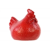 Ceramic Hen Figurine LG Hammered Gloss Finish Red