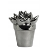 "Ceramic ""Geraloe"" Cactus Figurine on Pot Polished Chrome Finish Silver"