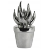 "Ceramic ""Haworthia"" Cactus Figurine on Pot Polished Chrome Finish Silver"
