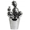 "Ceramic ""Prickly Pear"" Cactus Figurine on Pot Polished Chrome Finish Silver"