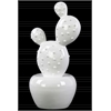 "Ceramic ""Prickly Pear"" Cactus Figurine on Round Tapered Pot Gloss Finish White"