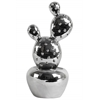"Ceramic ""Prickly Pear"" Cactus Figurine on Round Tapered Pot Polished Chrome Finish Silver"