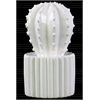 Ceramic Star Cactus Figurine on Ribbed Pot LG Gloss Finish White