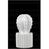 Ceramic Star Cactus Figurine on Ribbed Pot SM Gloss Finish White