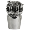 Ceramic Flowered Notocactus Figurine in Tapered Pot Polished Chrome Finish Silver
