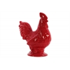 Ceramic Rooster Figurineon Base Gloss Finish Red