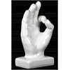 Ceramic OK Hand Sign Sculpture on Base Gloss Finish White