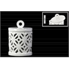 Ceramic Round Lantern with Ring Handle Lid  and Cutout Cross Design SM Gloss Finish White