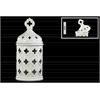 Ceramic Round Lantern with Quatrefoil Handle Lid and Cutout Quatrefoil Design LG Gloss Finish White