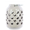 Ceramic Lantern with Metal Handle, Cutout Octagram and Quatregfoil  Design Gloss Finish White
