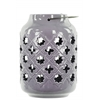 Ceramic Lantern with Metal Handle, Cutout Octagram and Quatregfoil  Design Gloss Finish Periwinkle