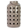 Ceramic Lantern with Metal Handle, and Cutout Porthole Design Gloss Finish Tan