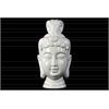 Ceramic Buddha Head Decor with Bun Ushnisha Gloss Finish White