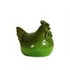 Ceramic Hen Figurine SM Hammered Gloss Finish Green