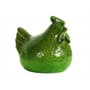 Ceramic Hen Figurine LG Hammered Gloss Finish Green