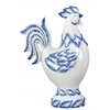 Ceramic Rooster Figurine with Blue Accents on Base Gloss Finish White