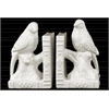 Ceramic Parakeet on a Tree Branch Bookend on Book Base Set of Two Gloss Finish White