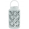 Ceramic Cylindrical Lantern with Cutout Walls and Metal Handle Gloss Finish Light Cyan