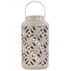 Ceramic Cylindrical Lantern with Cutout Walls and Metal Handle Gloss Finish Mocha