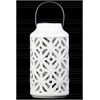 Ceramic Cylindrical Lantern with Cutout Walls and Metal Handle Gloss Finish White