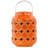 Ceramic Cylindrical Lantern with Cutout Walls and Metal Handle Gloss Finish Orange