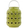 Ceramic Cylindrical Lantern with Cutout Walls and Metal Handle Gloss Finish Yellow Green