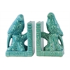 Ceramic Parakeet on a Tree Branch Bookend on Book Base Set of Two Gloss FInish Turquoise