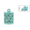 Ceramic Round Lantern with Ring Handle Lid and Cutout Cross Design SM Gloss Finish Cyan