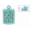 Ceramic Round Lantern with Ring Handle Lid and Cutout Cross Design LG Gloss Finish Cyan