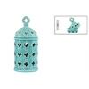 Ceramic Round Lantern with Quatrefoil Handle and Cutout Quatrefoil Design LG Gloss Finish Cyan