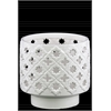 Ceramic Round Hurricane Lantern with Cutout Qautrefoil and Star Design Gloss Finish White