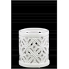 Ceramic Round Hurricane Lantern with Cutout Cross Design SM Gloss Finish White