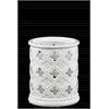 Ceramic Round Hurricane Lantern with Cutout Quatrefoil Design SM Gloss Finish White