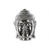 Ceramic Buddha Head with Rounded Ushnisha Polished Chrome Finish Silver