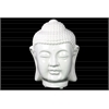 Ceramic Buddha Head with Rounded Ushnisha Gloss Finish White